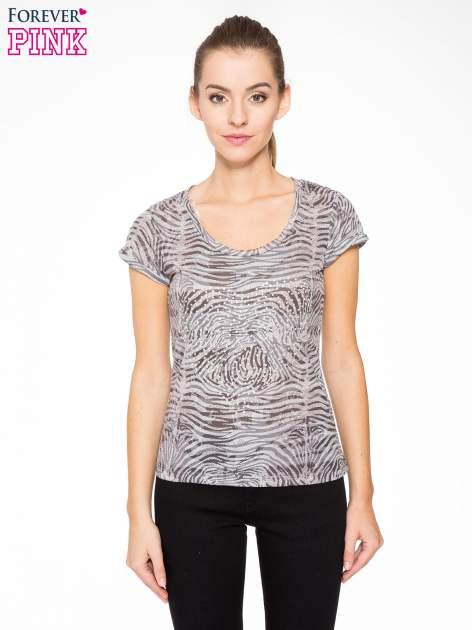 Szary t-shirt z nadrukiem zebry z dżetami                                  zdj.                                  1