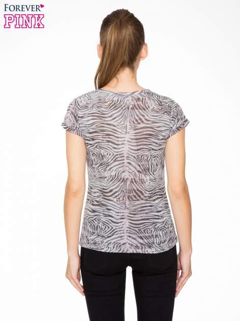 Szary t-shirt z nadrukiem zebry z dżetami                                  zdj.                                  4