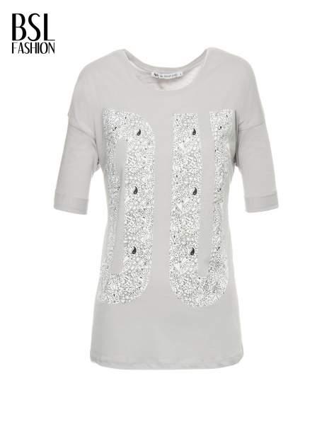 Szary t-shirt z nadukiem DUDE z przodu i na plecach                                  zdj.                                  2