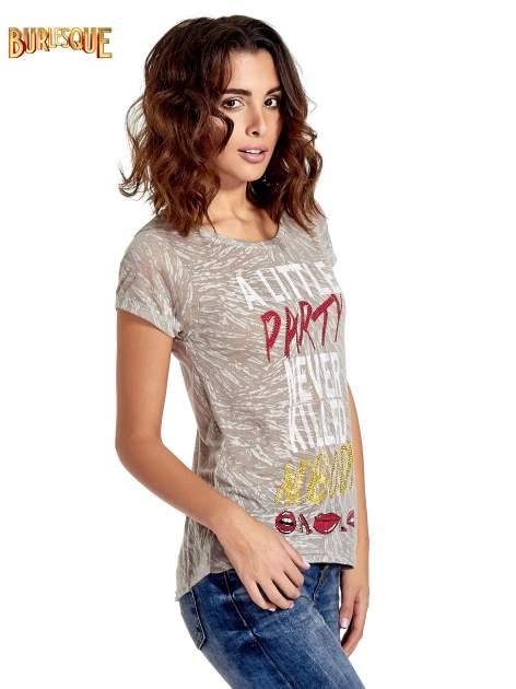 Szary t-shirt z napisem A LITTLE PARTY NEVER KILLED NOBODY                                  zdj.                                  3