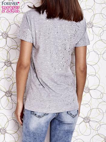 Szary t-shirt z napisem BONJOUR                                  zdj.                                  4