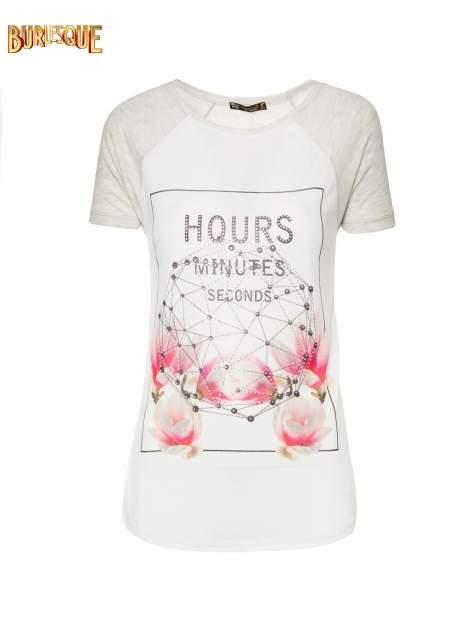 Szary t-shirt z napisem HOURS MINUTES SECONDS z dżetami                                  zdj.                                  8