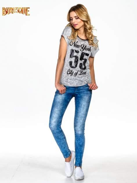 Szary t-shirt z napisem NEW YORK CITY OF LOVE 55                                  zdj.                                  6