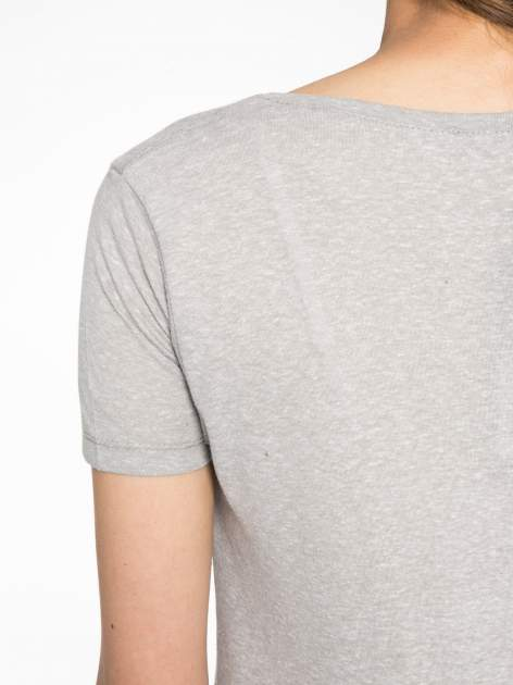 Szary t-shirt z napisem ROUTE NEW YORK                                  zdj.                                  9