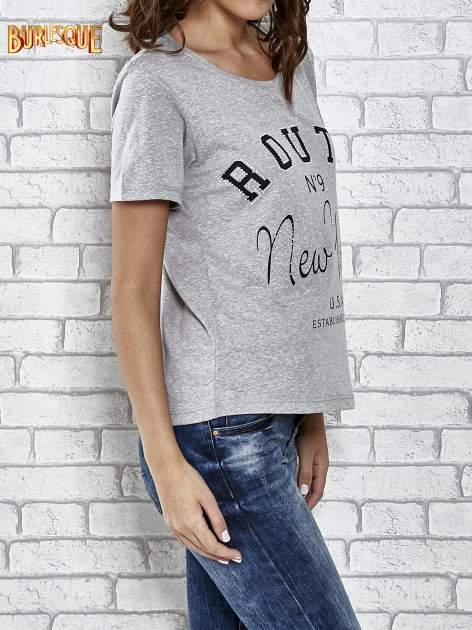 Szary t-shirt z napisem ROUTE NEW YORK                                  zdj.                                  3