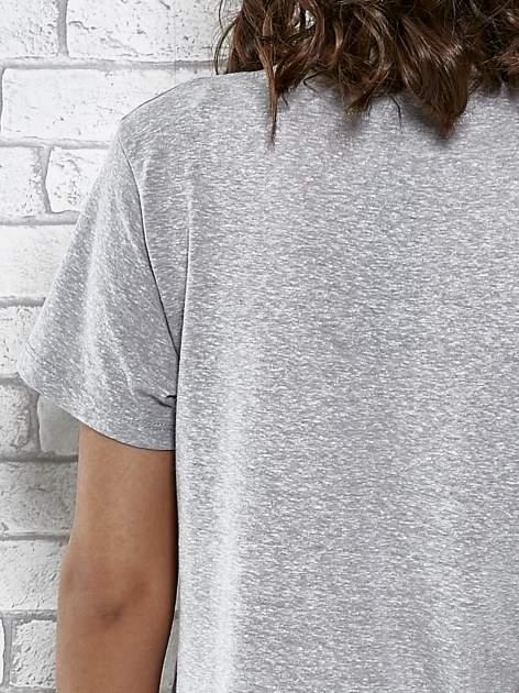 Szary t-shirt z napisem ROUTE NEW YORK                                  zdj.                                  6