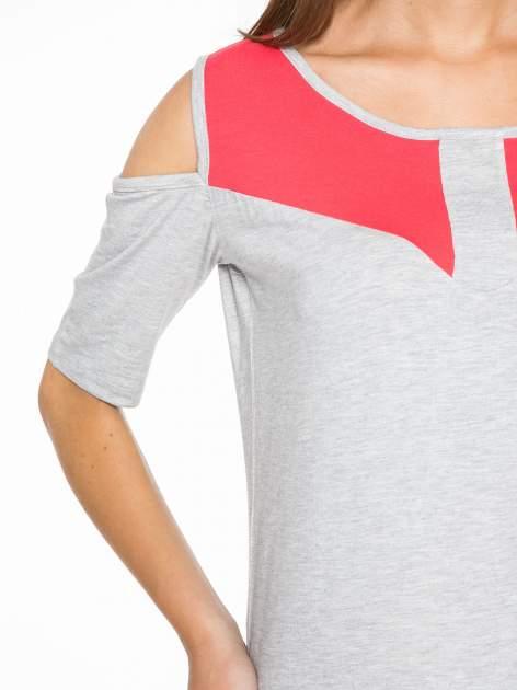 Szary t-shirt z rękawami tylem typu cut out                                   zdj.                                  6