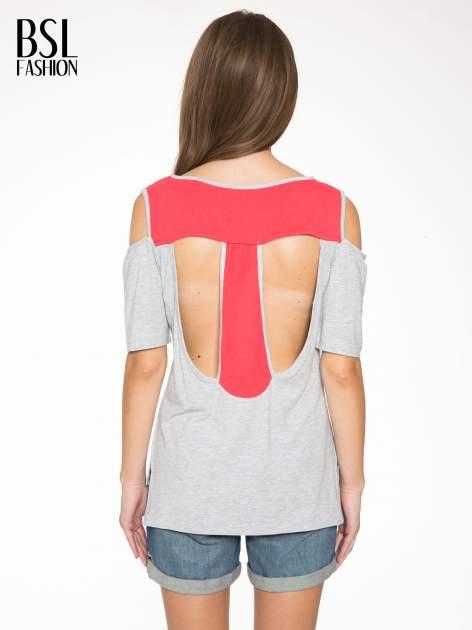 Szary t-shirt z rękawami tylem typu cut out                                   zdj.                                  4