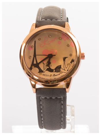 Szary zegarek damski z cyrkoniami na skórzanym pasku                                  zdj.                                  1