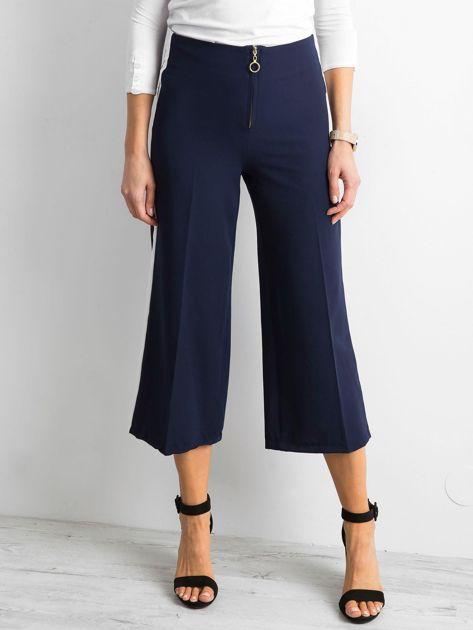 Szerokie spodnie z lampasami granatowe                              zdj.                              1