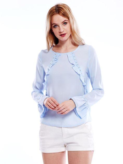 Szyfonowa bluzka z falbankami i aplikacją jasnoniebieska                              zdj.                              5