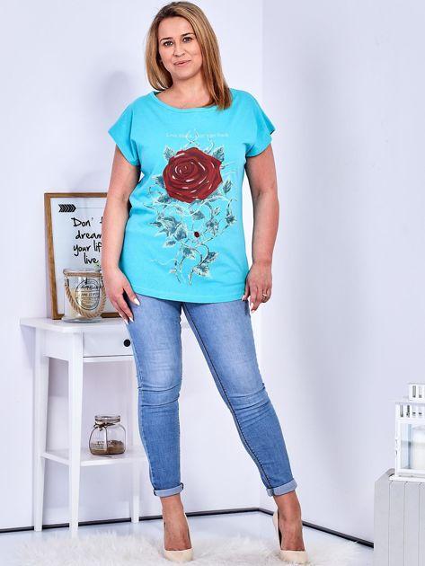 T-shirt morski z różą PLUS SIZE                                  zdj.                                  4