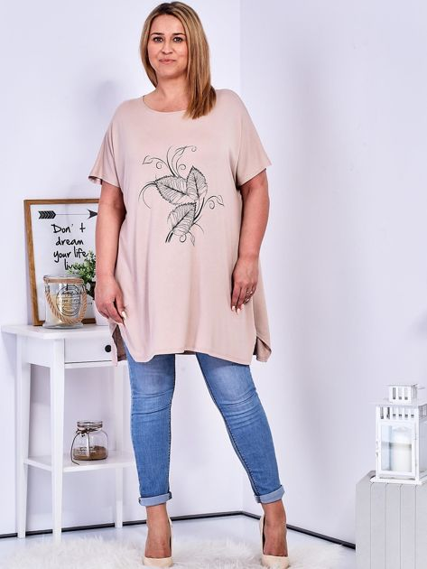 T-shirt beżowy z motywem roślinnym PLUS SIZE                              zdj.                              4
