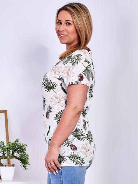 T-shirt beżowy z nadrukiem roślinnym PLUS SIZE                              zdj.                              5