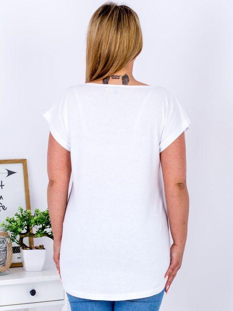 T-shirt biały z nadrukiem boho PLUS SIZE                              zdj.                              2