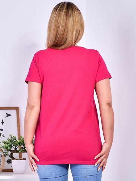 T-shirt ciemnoróżowy z gwiazdą z perełek PLUS SIZE                              zdj.                              2