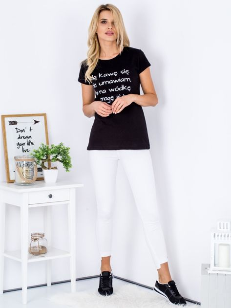 T-shirt czarny NA KAWĘ SIĘ NIE UMAWIAM                              zdj.                              4