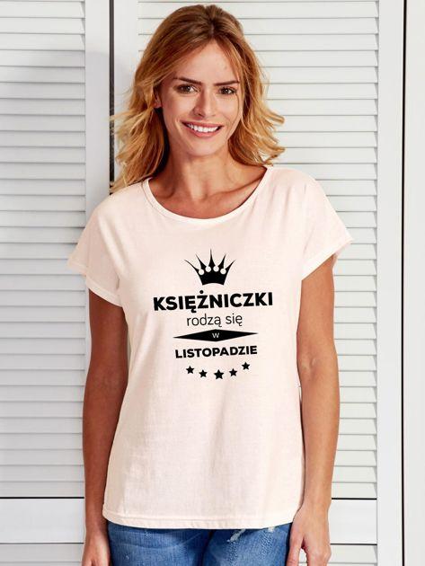 T-shirt damski KSIĘŻNICZKI RODZĄ SIĘ W LISTOPADZIE ecru                              zdj.                              1
