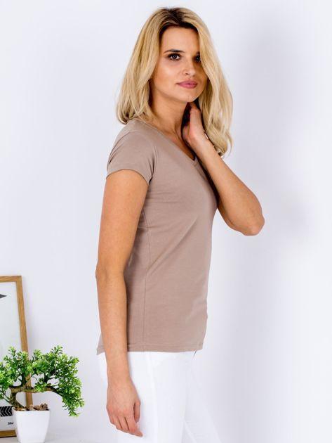 T-shirt damski beżowy V-neck                              zdj.                              3