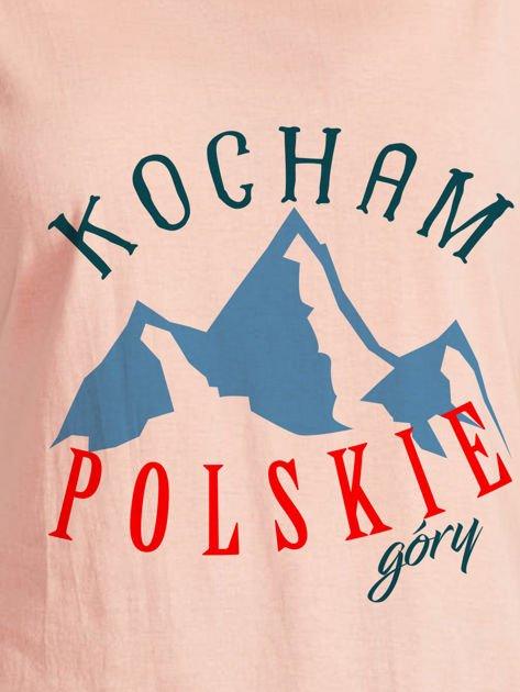 T-shirt damski patriotyczny KOCHAM POLSKIE GÓRY łososiowy                              zdj.                              2