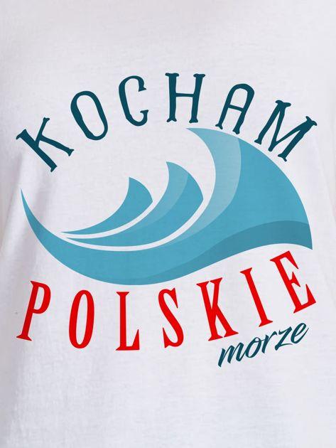 T-shirt damski patriotyczny KOCHAM POLSKIE MORZE biały                              zdj.                              2