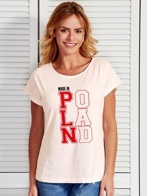T-shirt damski patriotyczny MADE IN POLAND ecru                              zdj.                              1
