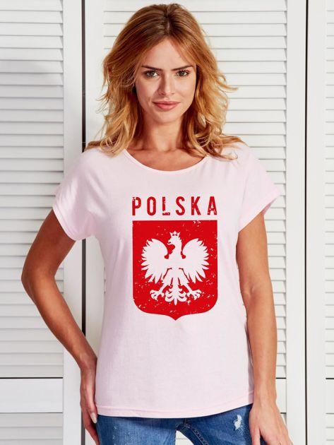 T-shirt damski patriotyczny POLSKA z Orłem Białym jasnoróżowy                              zdj.                              1