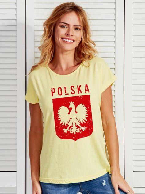 T-shirt damski patriotyczny POLSKA z Orłem Białym żółty                                  zdj.                                  1