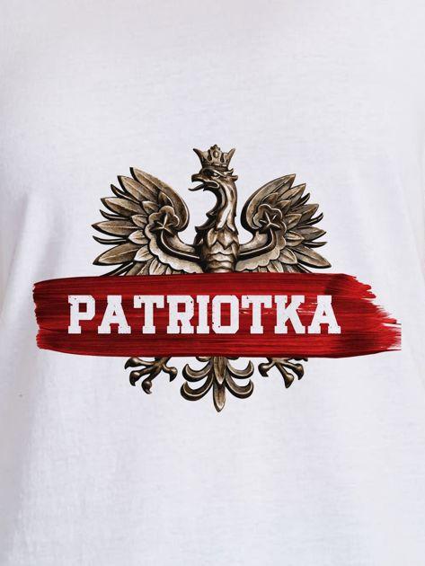 T-shirt damski patriotyczny z nadrukiem Orła Białego biały                              zdj.                              2