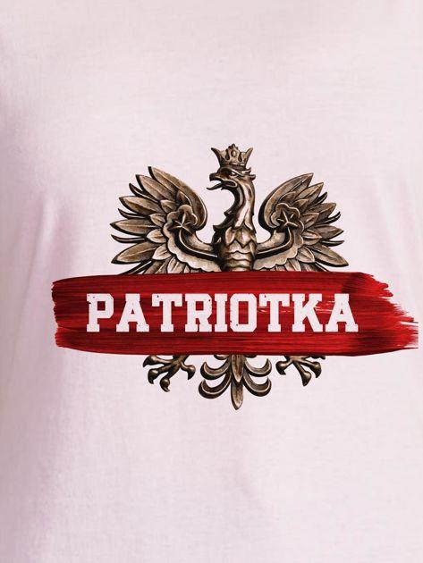 T-shirt damski patriotyczny z nadrukiem Orła Białego jasnoróżowy                              zdj.                              2