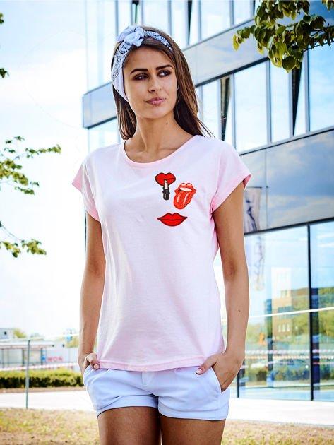 T-shirt damski różowy z naszywkami USTA                              zdj.                              1