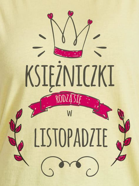 T-shirt damski z nadrukiem KSIĘŻNICZKA żółty                                  zdj.                                  2