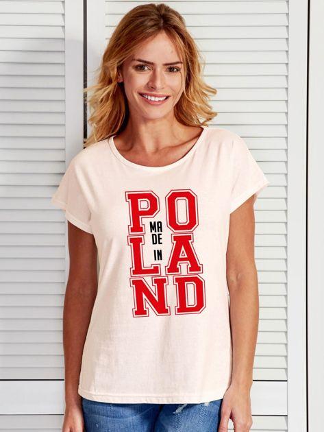 T-shirt damski z nadrukiem MADE IN POLAND ecru                                  zdj.                                  1
