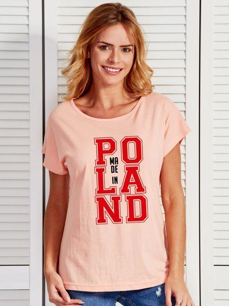 T-shirt damski z nadrukiem MADE IN POLAND łososiowy                              zdj.                              1