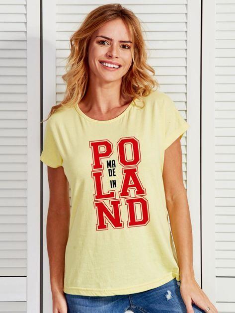 T-shirt damski z nadrukiem MADE IN POLAND żółty                              zdj.                              1