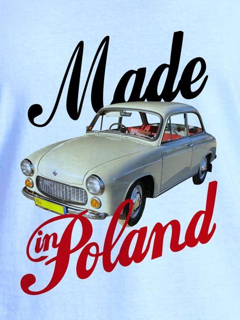 T-shirt damski z nadrukiem samochodu Syrenki niebieski                              zdj.                              2