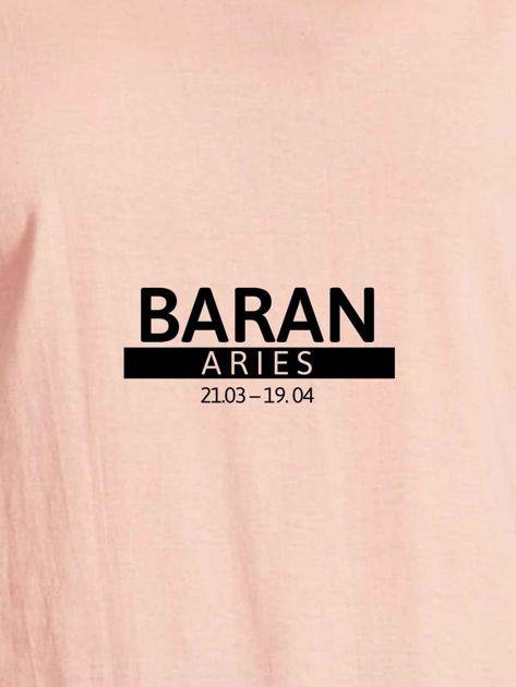 T-shirt damski z nadrukiem znaku zodiaku BARAN łososiowy                                  zdj.                                  2