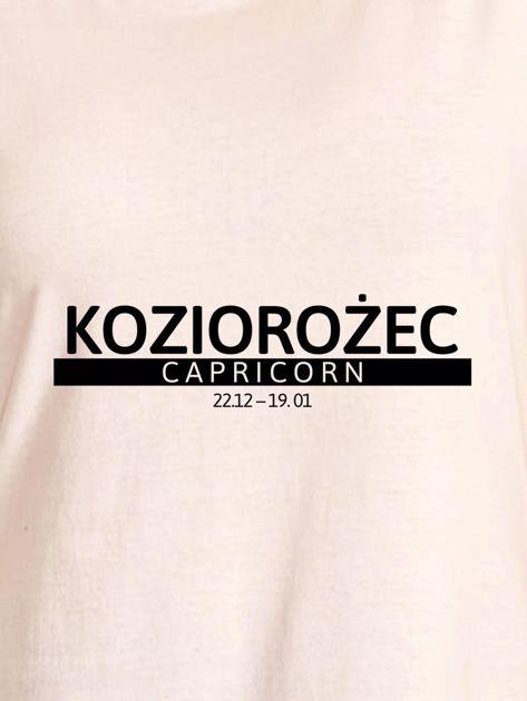T-shirt damski z nadrukiem znaku zodiaku KOZIOROŻEC ecru                                  zdj.                                  2