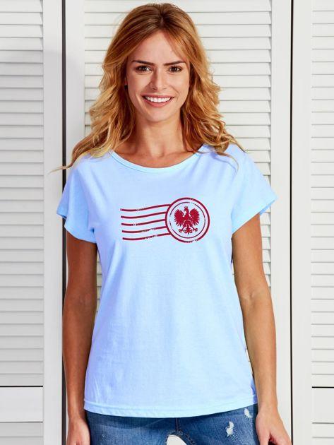 T-shirt damski z patriotycznym nadrukiem niebieski                              zdj.                              1