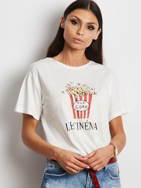 T-shirt ecru z popcornem                              zdj.                              4