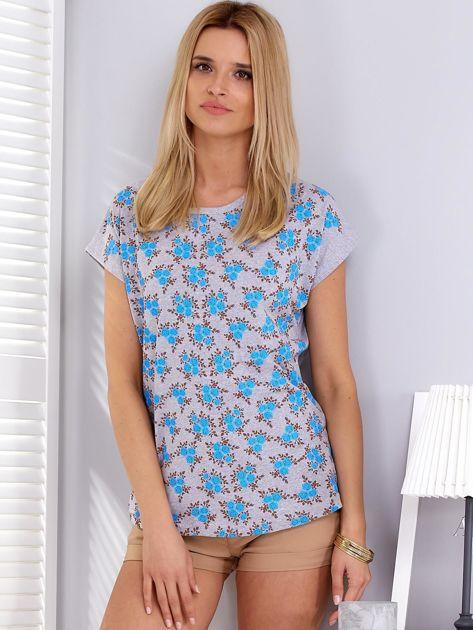 T-shirt jasnoszary w kwiaty                              zdj.                              1
