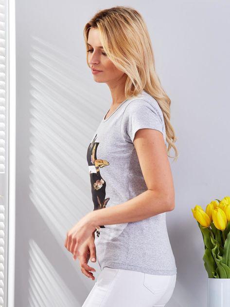 T-shirt jasnoszary z motylami                                  zdj.                                  5