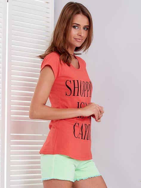 T-shirt koralowy SHOPPING IS MY CARDIO                              zdj.                              3