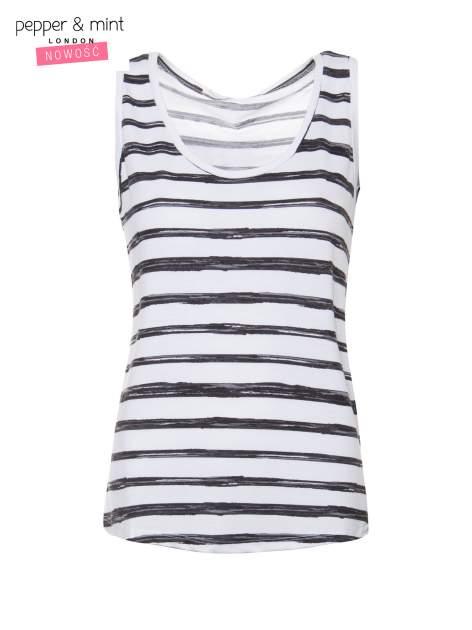 T-shirt na szerokich ramiączkach w biało-czarne paski                                  zdj.                                  2