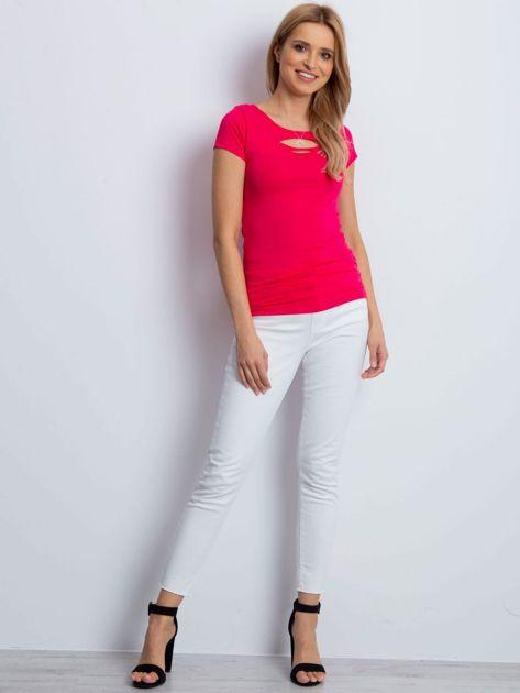 T-shirt różowy cut out                              zdj.                              4