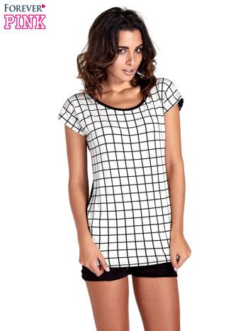 T-shirt w biało-czarną kratkę z koronką z tyłu                                  zdj.                                  1
