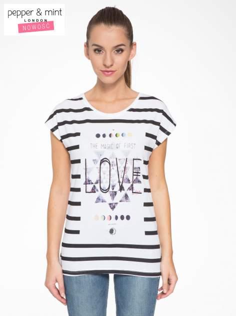 T-shirt w biało-czarne paski z napisem LOVE