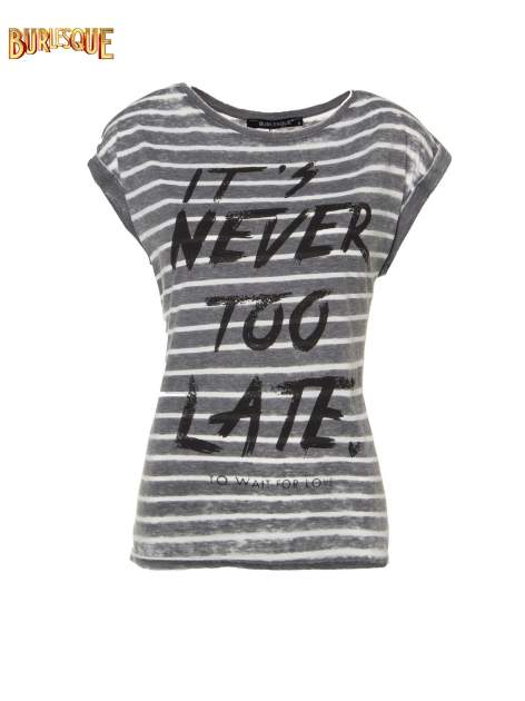 T-shirt w paski z napisem IT'S NEVER TOO LATE                                   zdj.                                  1