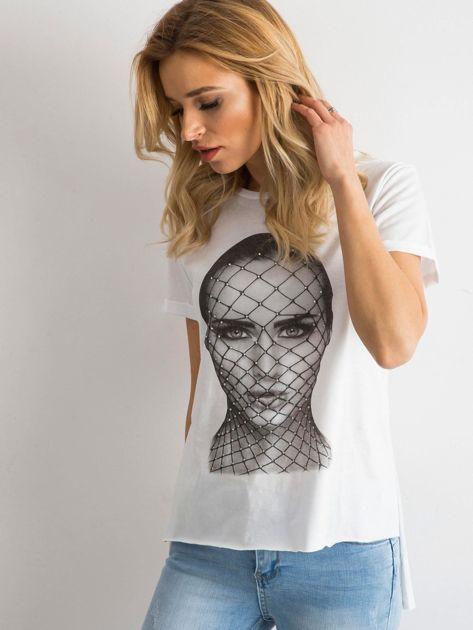 T-shirt z bawełny biały                              zdj.                              3