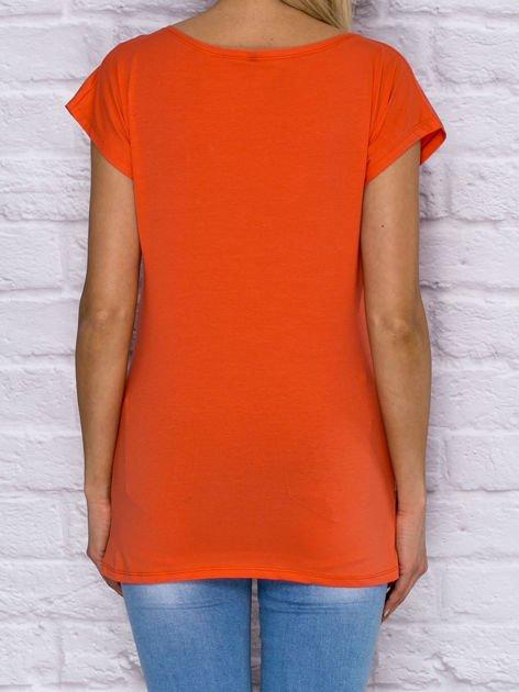 T-shirt z cekinowym sercem i kwiatkami pomarańczowy                              zdj.                              2
